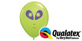 Qualatex Alien Head 5 Green Balloons